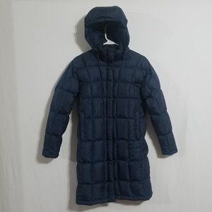 North Face Womens XS Navy Blue Puffer Jacket Parka long length goose down coat